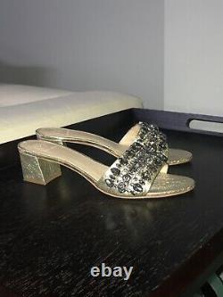 Tory Burch Beverly Slide 9 Gold Leather Lux 45 MM Embellished Sandal Mule Shoe