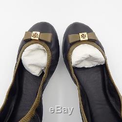 Tory Burch Black & Dark Branch Veg Mestico Eddie With Bow Flats Size 9