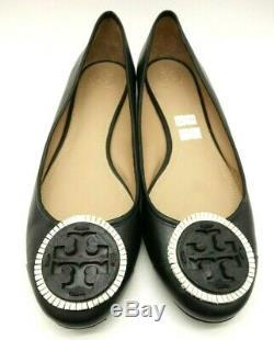 Tory Burch Black Leather Fringe Logo Casual Low Heel Flats Shoes Women's 11 M