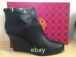 Tory Burch Black Leather Milan Wedge Bootie Belted Gold Logo Shoe 10 M