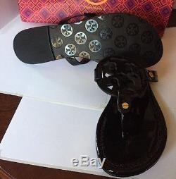 Tory Burch Black Patent Leather Miller Logo Sandals Shoes Size 8M Boxed