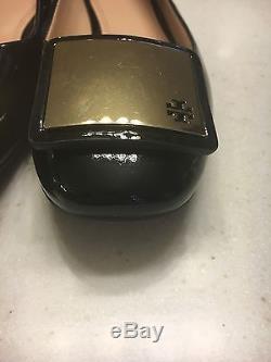 Tory Burch Black Patent Leather Pump Flats Reva Gold Logo Square $295 Sz 8