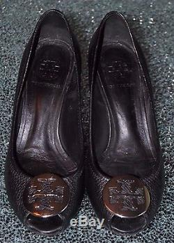 Tory Burch Black & Silver Wedge Shoes, Size 7.5