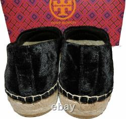Tory Burch Black Velvet Platform Espadrilles Flat Loafers Shoes 6.5