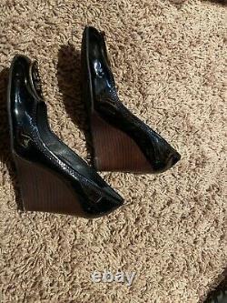 Tory Burch Black Wedges 8M Womens Shoes Heals