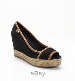 Tory Burch Black Women's Size 8M Open Toe Leather Trim Canvas Wedges $225- #323