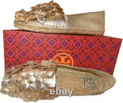 Tory Burch Blossom Gold Leather Platform Espadrilles Floral Flats Shoes 10.5