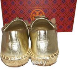 Tory Burch Blossom Gold Leather Platform Espadrilles Floral Flats Shoes 9