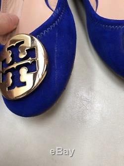 Tory Burch Blue Suede Reva Ballet Flats Size 6.5 M
