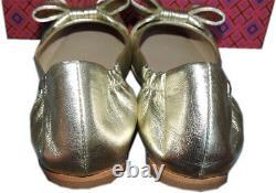 Tory Burch Bow Driver Ballerina Flats Divine Silver Ballet Gold Logo Shoes 7