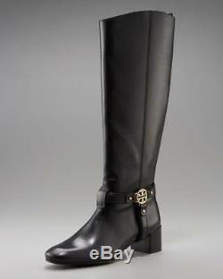 Tory Burch Bristol Donovan Black Gold Medallion Leather Riding Boots Tall Sz 7