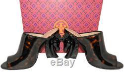 Tory Burch Brown Barton Horse Heel Mules Tortoise Black Sandals Shoes 8.5