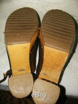Tory Burch Brown Leather Wood Heel Sandal Shoes Women's 11M