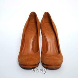 Tory Burch Brown Suede High Heels Shoes Stilettos Platform Pumps Round Toe US 7