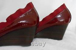 Tory Burch Burgundy Patent Leather Wedge Shoe, Slip On, Logo, Sz 7 M, Excellent