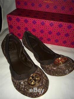 Tory Burch CAROLINE 2 Leopard Lurex Logo Ballet Ballerina Flats Shoes Bronze 7