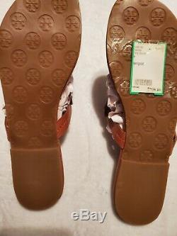 Tory Burch Camel Miller Sandals Size 8.5. Gold Emblem