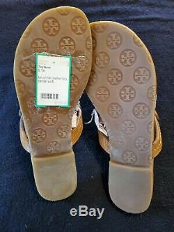 Tory Burch Camel Miller Sandals Size 8. Tumbled Leather