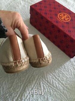 Tory Burch Cap Toe Espadrille Color Block Natural Tan Size 7 New