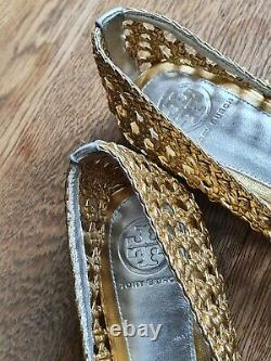 Tory Burch Carlyle Gold Silver Flats ladies shoes 9