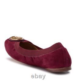 Tory Burch Caroline 2 Ballet Flats Shoes Slipons Cabernet $225 NWB Suede Leather