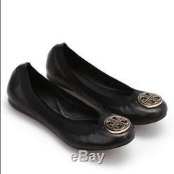 Tory Burch Caroline Ballet Black Naplak Size 6.5