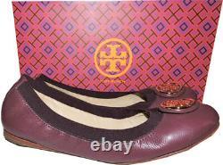 Tory Burch Caroline Elastic Trim Ballerina Burgundy leather Ballet Flats Shoes 7