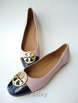 Tory Burch Chelsea Pink Logo Cap Toe Ballet Flat Shoes Sz 9
