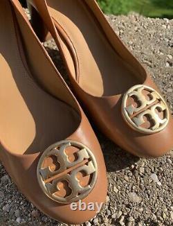 Tory Burch Chelsea Tan Leather 50mm Block Heel Pump/shoe Gold T Logo Sz 10