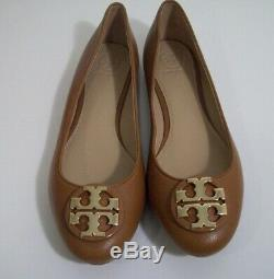 Tory Burch Claire Ballet Flats Royal Tan Leather Size 7 New In Box FREE SHIPPING