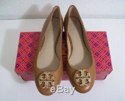 Tory Burch Claire Ballet Flats Royal Tan Leather Size 9 New In Box FREE SHIPPING