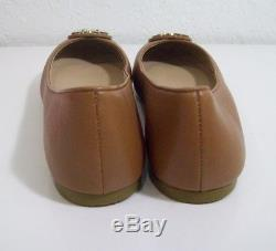 Tory Burch Claire Ballet Flats shoes Royal Tan Lthr Size 9 New In Box FREE SHIP