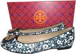 Tory Burch Claire Reva Ballerina Flats Gold Logo Ballet Shoe 6.5 Navy Leather