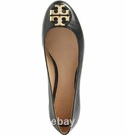 Tory Burch Claire Reva Ballet Flat Gold Logo Black Shoes Leather US13 EUR 43