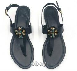 Tory Burch Claire Vegan Leather Black Flat Thong Sandal Shoes Size 9