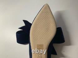 Tory Burch Clara Flat Navy Suede Shoe with Navy Velvet Bow NIB Size 10