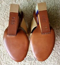 Tory Burch Color Cube Leather Wedge Shoes Women's 8M NEW