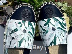 Tory Burch Colorblock Espadrille Flat Shoe Ivory Desert Bloom/navy Leather Sz 9