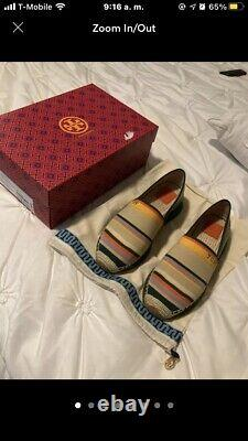 Tory Burch Daisy Multi Color Slip On Sneakers Espadrilles Shoes Size 9.5
