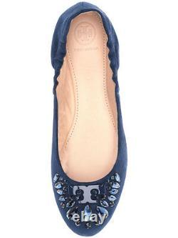 Tory Burch Delphine Navy Suede Crystals Embellished Ballerina Shoe Ballet Flat 7