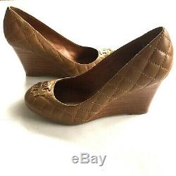 Tory Burch Diamond Quilted Wedges Brown / Gold 8 Double T Logo Size 8 Shoes New