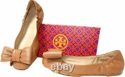 Tory Burch Divine Ballet Flats Bow Gold Logo Shoes Tan Leather Ballerina 9.5