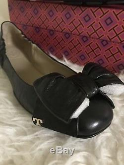Tory Burch Divine Bow Driver Ballet Ballerina Flat Size 7.5 Black Nappa Leather
