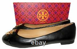 Tory Burch EVERLY Ballet Flats Black Leather Gold Logo Reva Ballerina Shoes 9