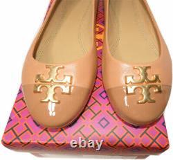 Tory Burch EVERLY Ballet Flats Tan Leather Gold Logo Reva Ballerina Shoes 10