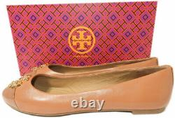 Tory Burch EVERLY Ballet Flats Tan Leather Gold Logo Reva Ballerina Shoes 8.5
