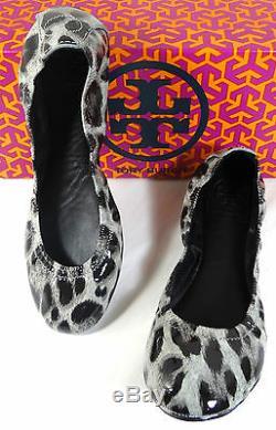 Tory Burch Eddie Leopard Snow patent Ballet Flats shoes 5-11