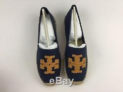 Tory Burch Elisa Espadrille Flat Denim Canvas Blue Marine Ballerina Shoe 9 US