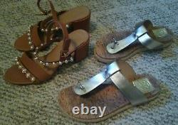 Tory Burch Emmy Sandals Leather Block Heel Shoes Women's 8M Tory B. Flat Sandals
