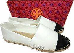 Tory Burch Espadrilles Colorblock Flat Ivory Black Logo Loafers Shoes 39 9